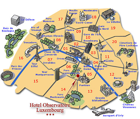 Map And Access How To Reach Us Hotel Obervatoire Luxembourg Paris - Us hotel map