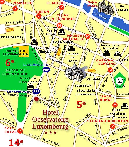 Plan Et Acc U00e8s Hotel Obervatoire Luxembourg Paris Proche Du